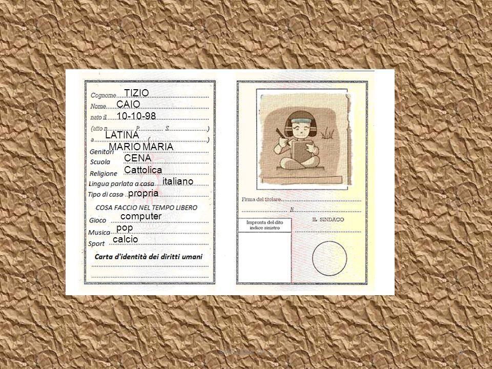 TIZIO CAIO 10-10-98 LATINA MARIO MARIA CENA Cattolica italiano propria