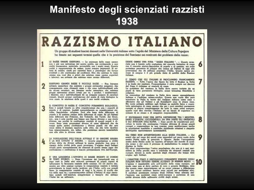 Manifesto degli scienziati razzisti 1938