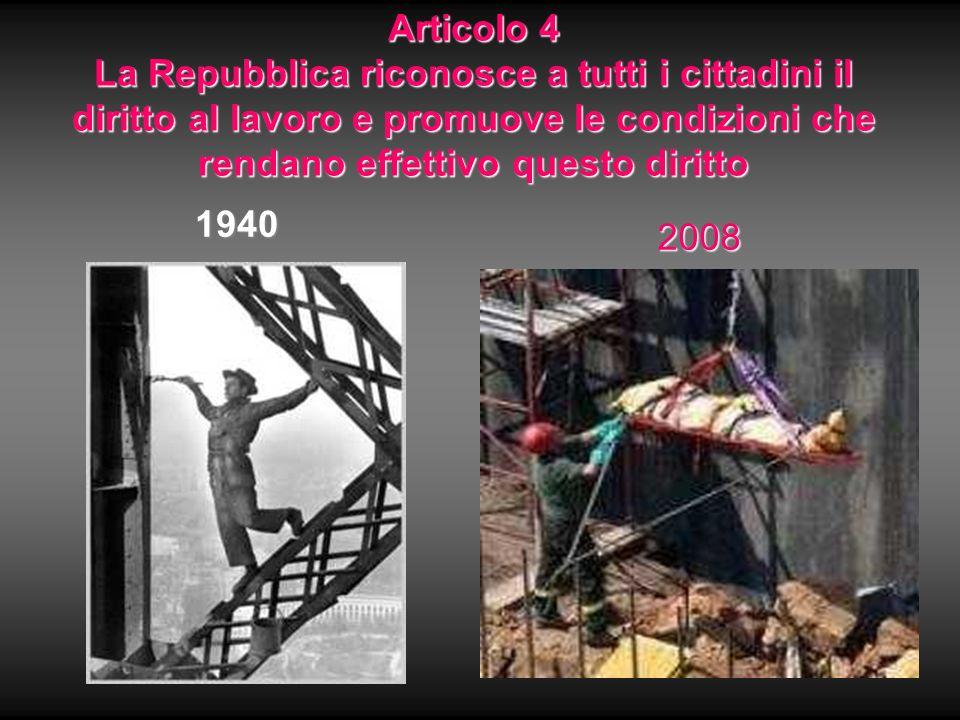 Articolo 4 La Repubblica riconosce a tutti i cittadini il diritto al lavoro e promuove le condizioni che rendano effettivo questo diritto
