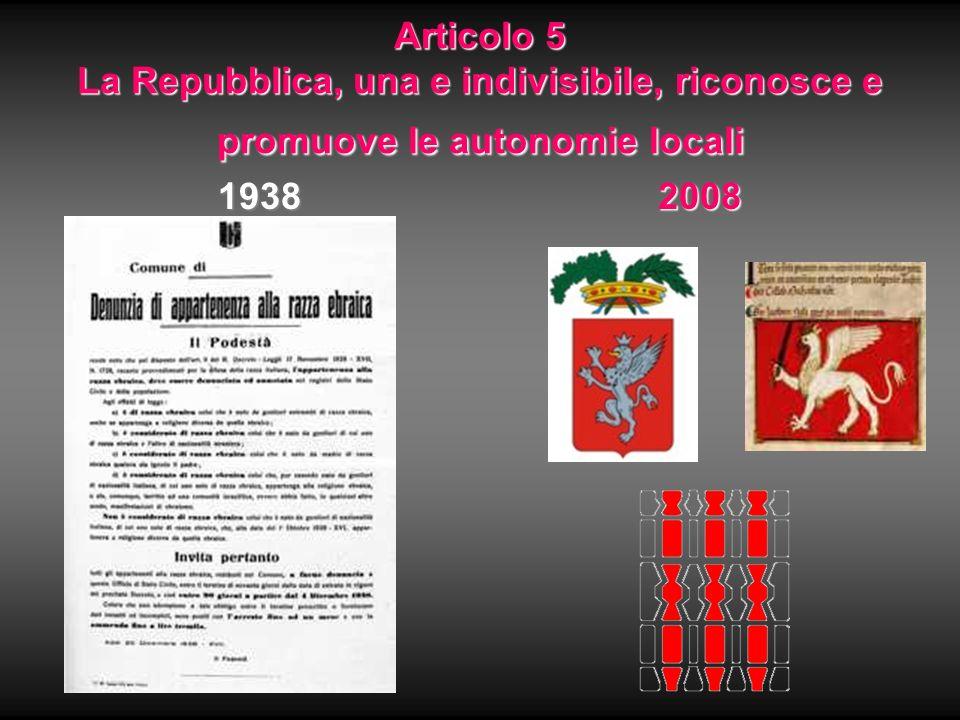 Articolo 5 La Repubblica, una e indivisibile, riconosce e promuove le autonomie locali