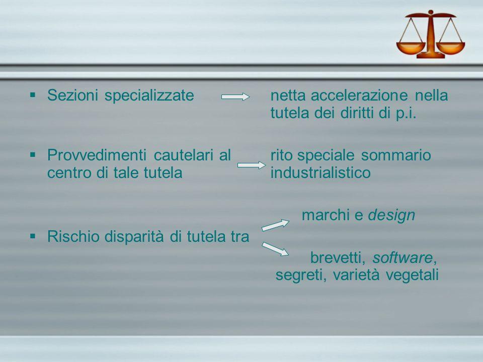 Sezioni specializzate. netta accelerazione nella