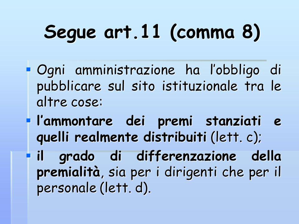 Segue art.11 (comma 8) Ogni amministrazione ha l'obbligo di pubblicare sul sito istituzionale tra le altre cose: