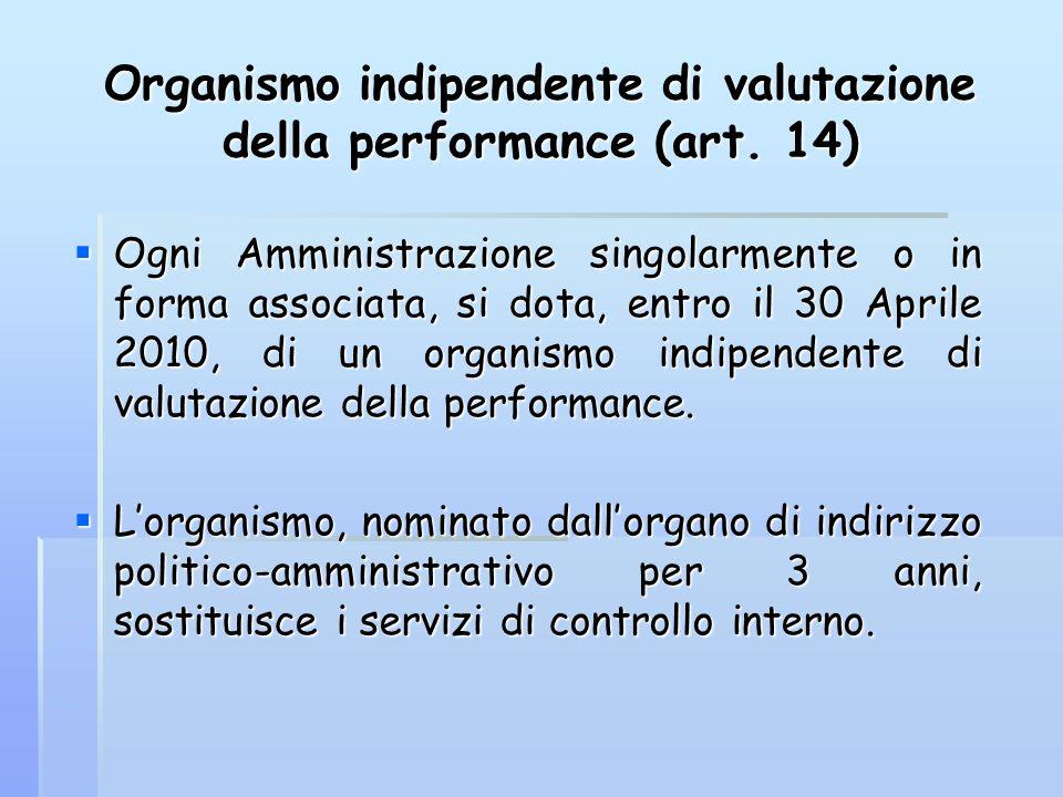Organismo indipendente di valutazione della performance (art. 14)