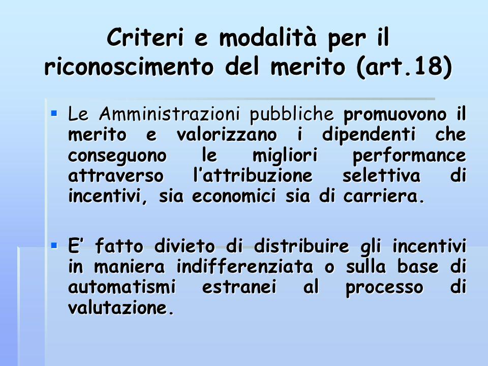 Criteri e modalità per il riconoscimento del merito (art.18)