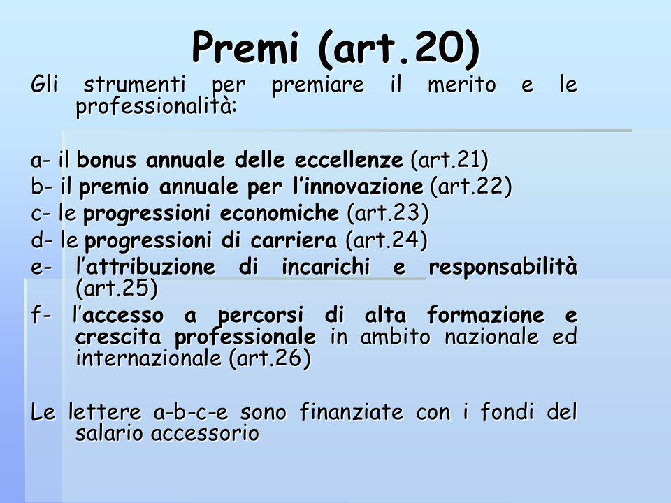 Premi (art.20) Gli strumenti per premiare il merito e le professionalità: a- il bonus annuale delle eccellenze (art.21)