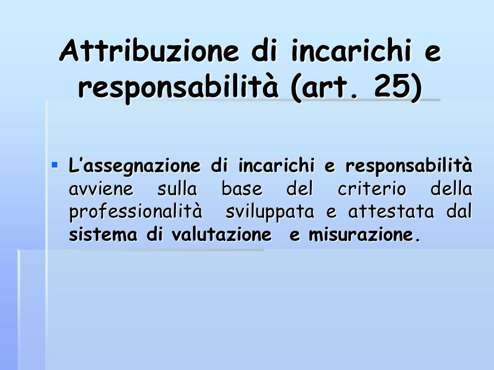 Attribuzione di incarichi e responsabilità (art. 25)