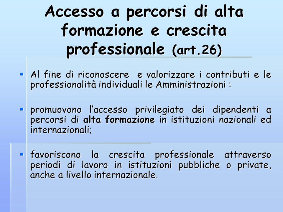 Accesso a percorsi di alta formazione e crescita professionale (art