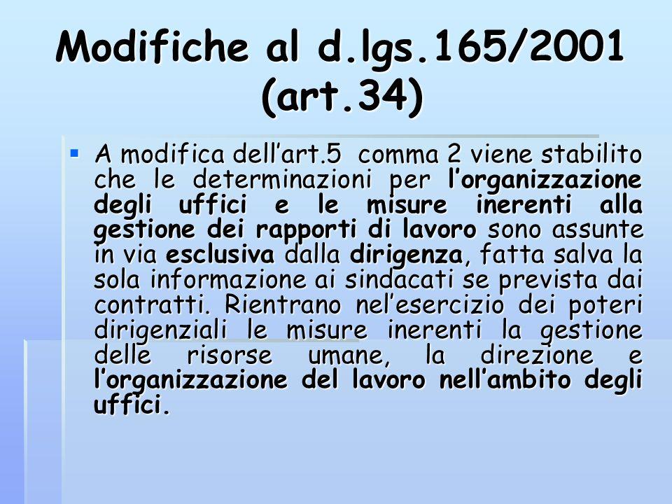 Modifiche al d.lgs.165/2001 (art.34)