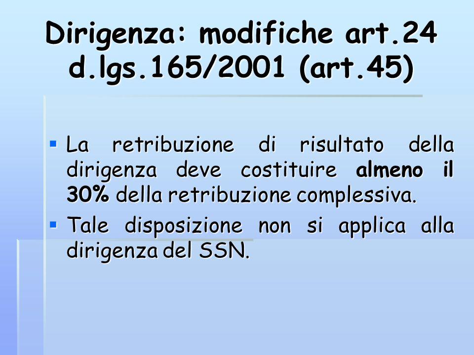 Dirigenza: modifiche art.24 d.lgs.165/2001 (art.45)