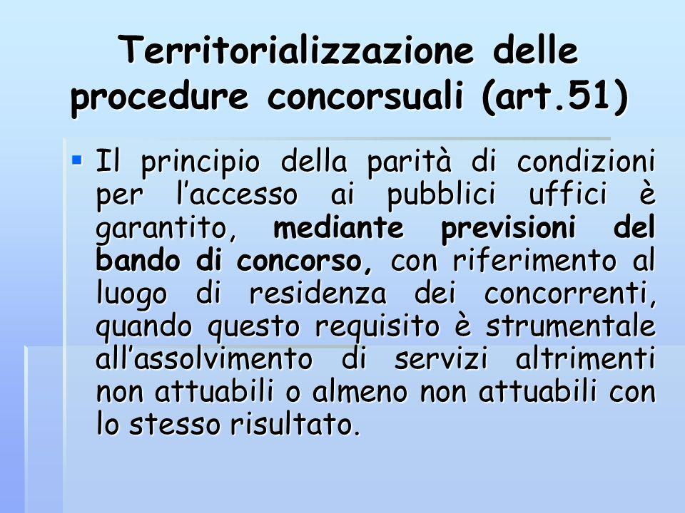 Territorializzazione delle procedure concorsuali (art.51)