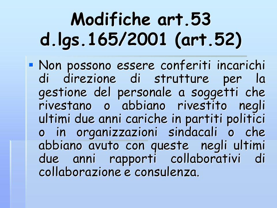 Modifiche art.53 d.lgs.165/2001 (art.52)