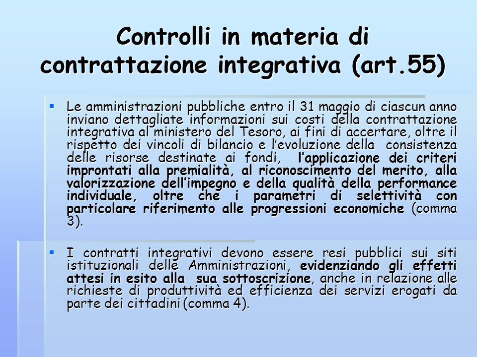 Controlli in materia di contrattazione integrativa (art.55)