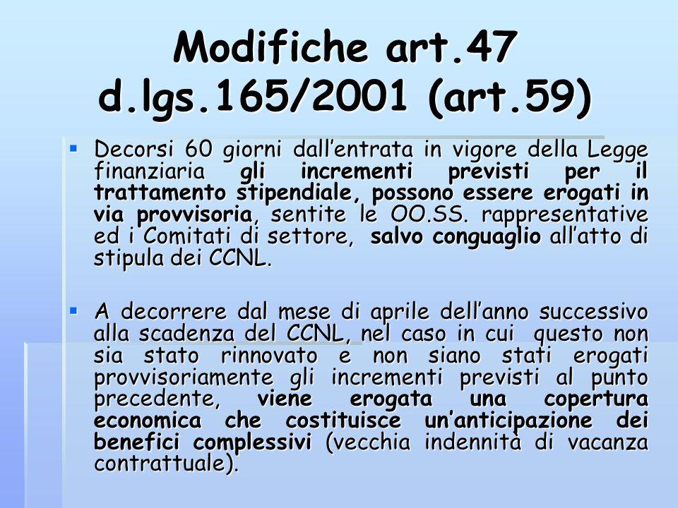 Modifiche art.47 d.lgs.165/2001 (art.59)