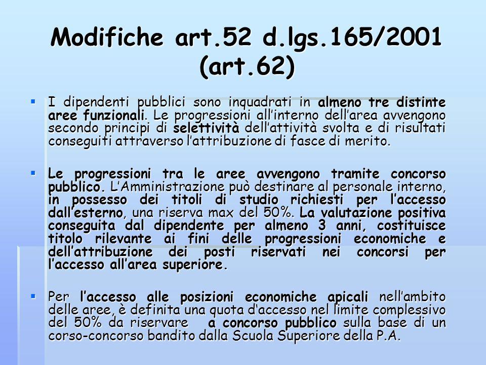 Modifiche art.52 d.lgs.165/2001 (art.62)