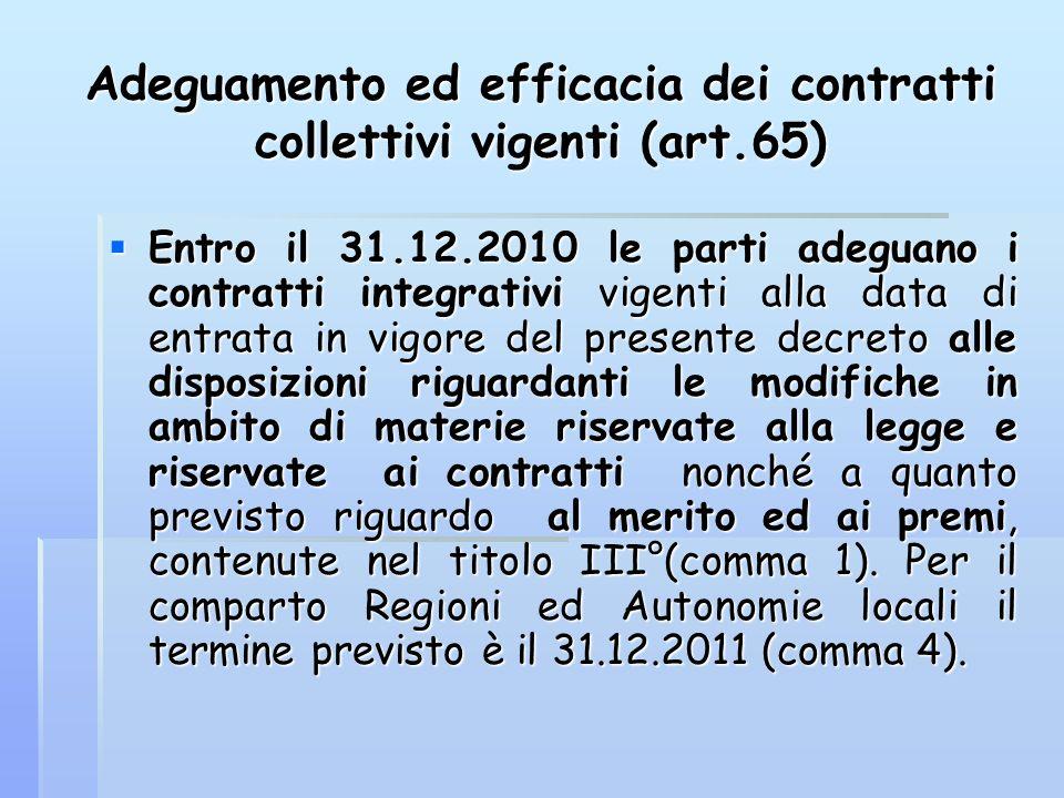 Adeguamento ed efficacia dei contratti collettivi vigenti (art.65)