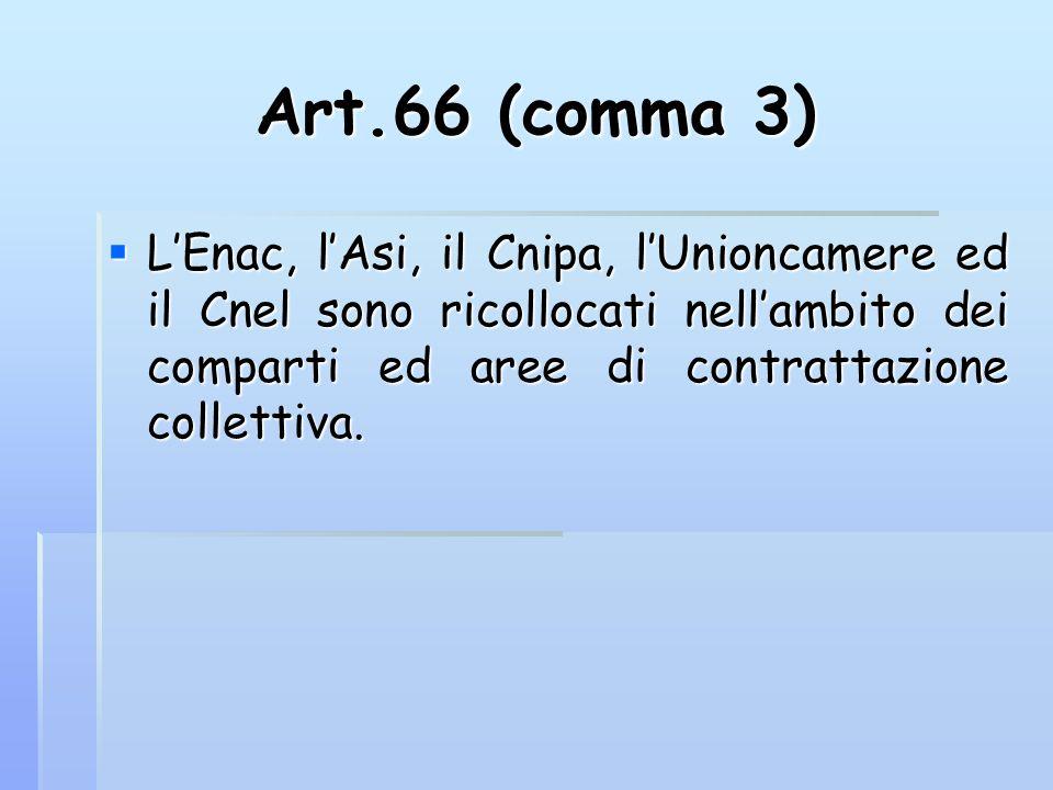 Art.66 (comma 3) L'Enac, l'Asi, il Cnipa, l'Unioncamere ed il Cnel sono ricollocati nell'ambito dei comparti ed aree di contrattazione collettiva.