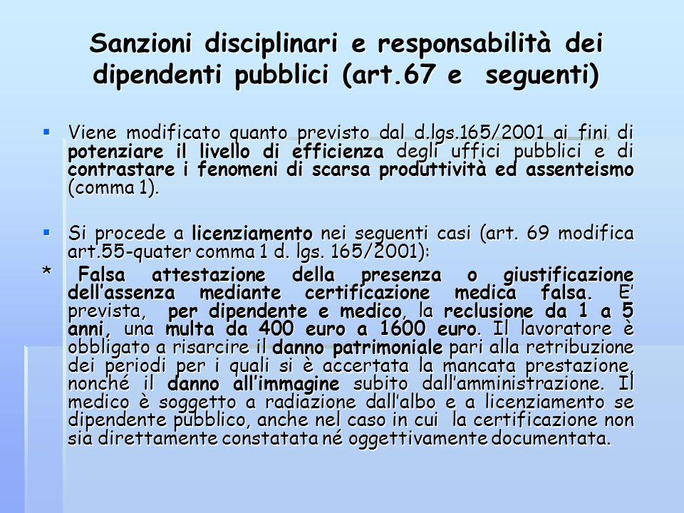 Sanzioni disciplinari e responsabilità dei dipendenti pubblici (art