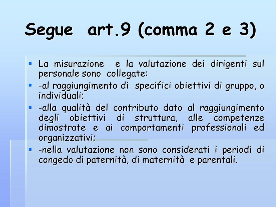 Segue art.9 (comma 2 e 3) La misurazione e la valutazione dei dirigenti sul personale sono collegate: