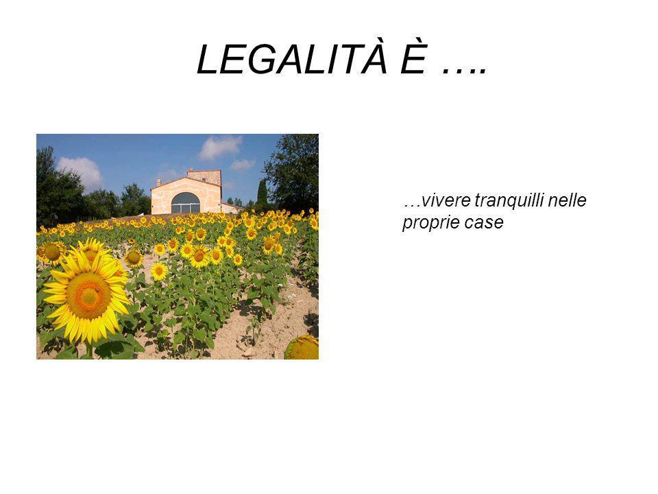 LEGALITÀ È …. …vivere tranquilli nelle proprie case