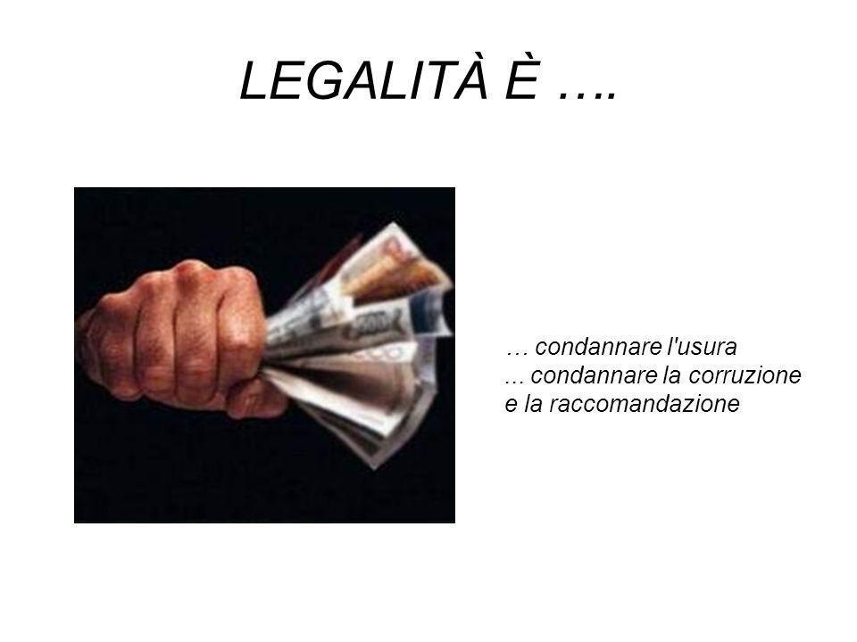 LEGALITÀ È …. … condannare l usura