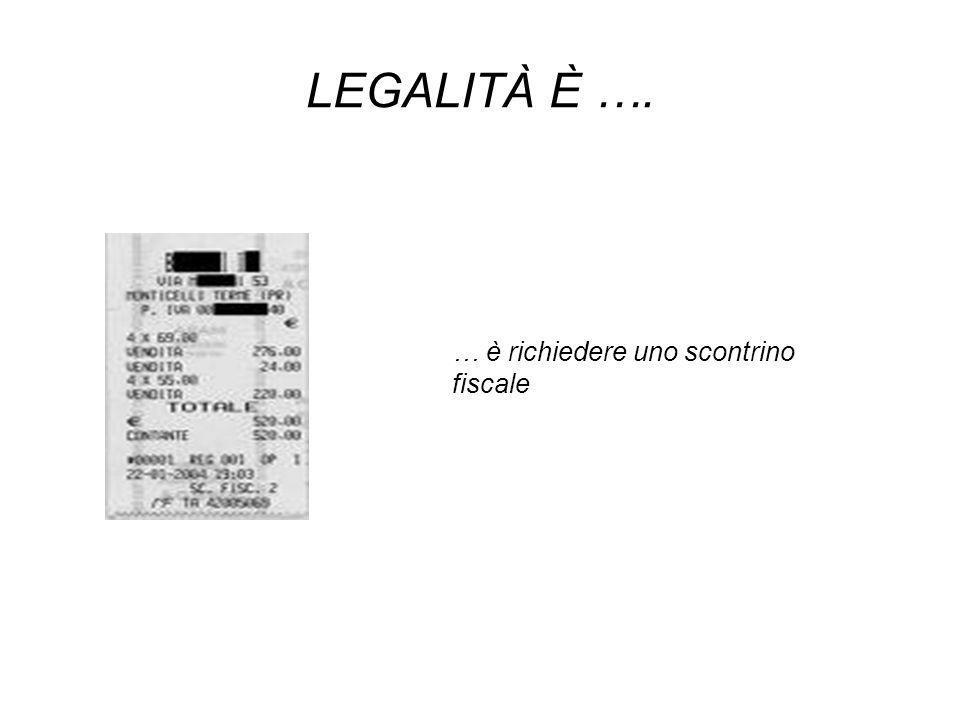 LEGALITÀ È …. … è richiedere uno scontrino fiscale
