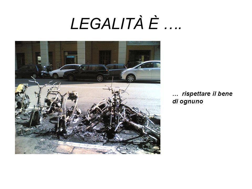 LEGALITÀ È …. … rispettare il bene di ognuno