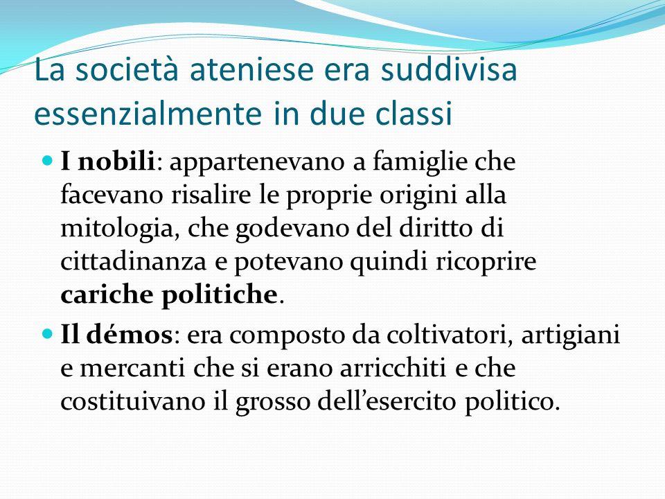 La società ateniese era suddivisa essenzialmente in due classi