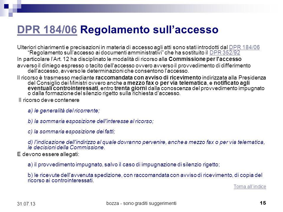 DPR 184/06 Regolamento sull'accesso
