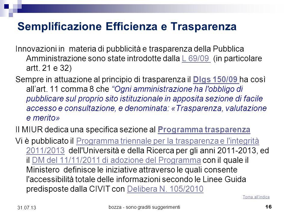Semplificazione Efficienza e Trasparenza