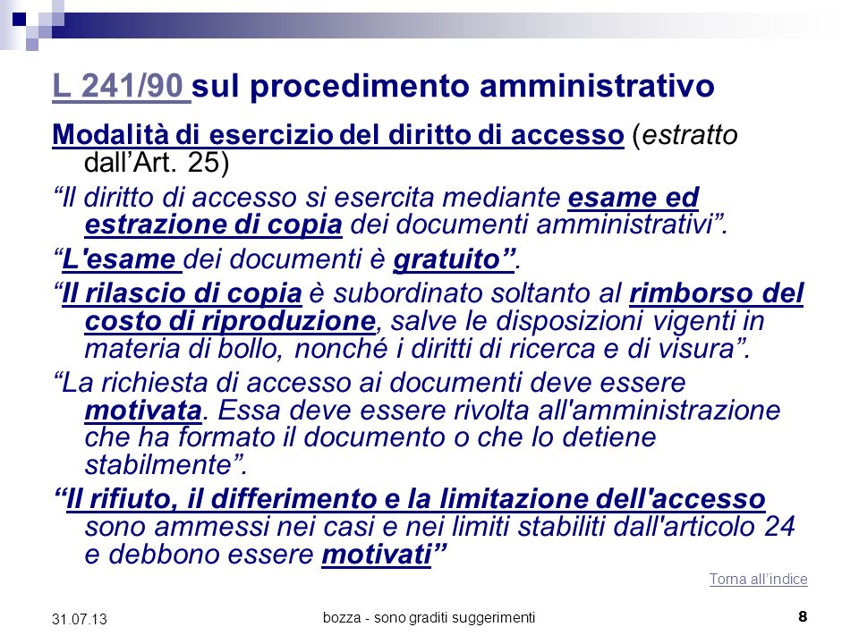L 241/90 sul procedimento amministrativo