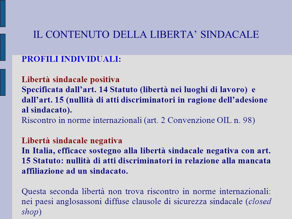 IL CONTENUTO DELLA LIBERTA' SINDACALE