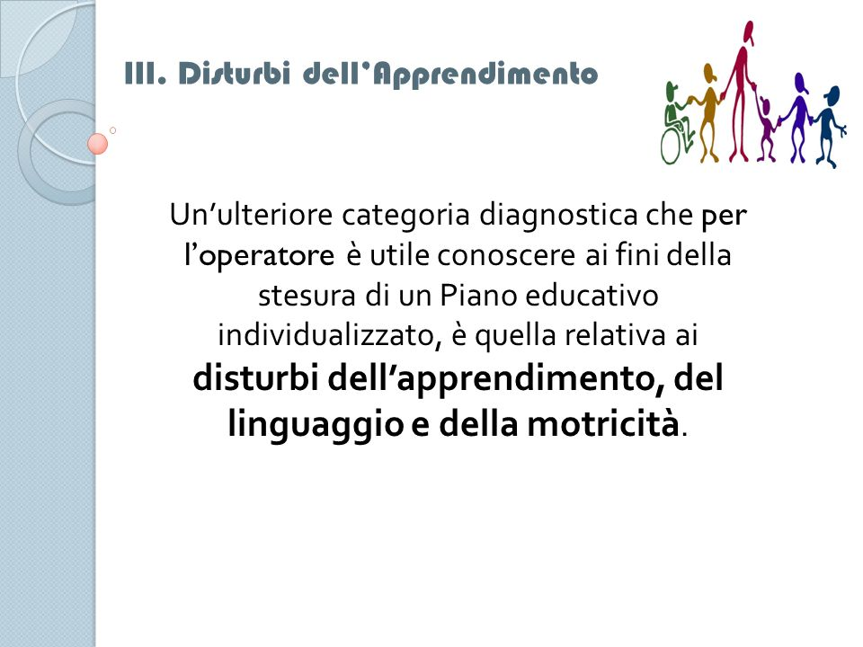 III. Disturbi dell'Apprendimento