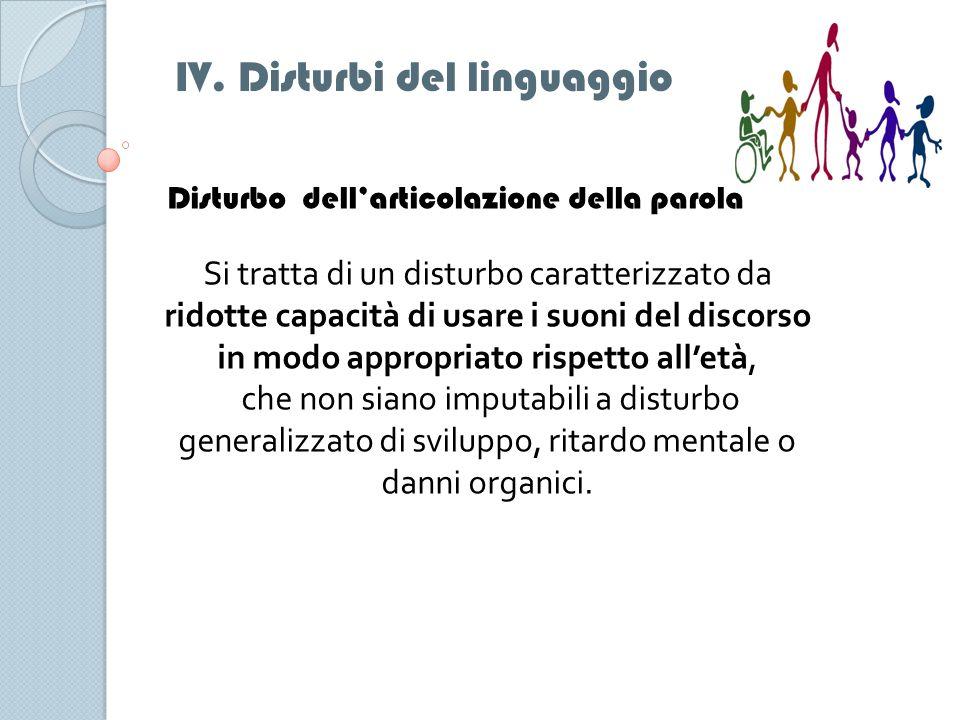 IV. Disturbi del linguaggio