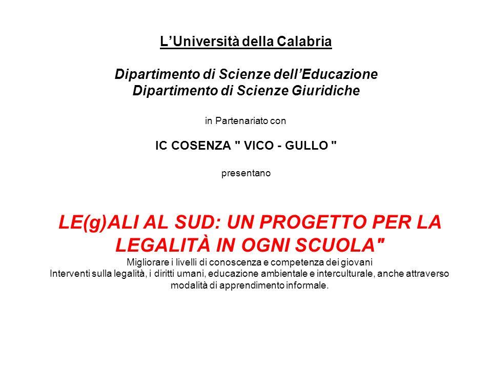 L'Università della Calabria Dipartimento di Scienze dell'Educazione