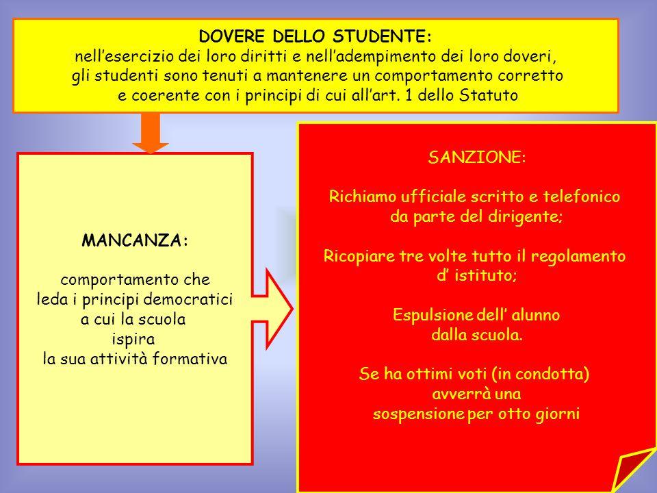 DOVERE DELLO STUDENTE:
