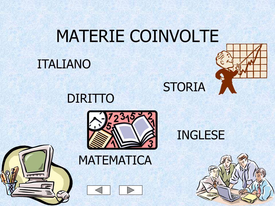 MATERIE COINVOLTE ITALIANO STORIA DIRITTO INGLESE MATEMATICA