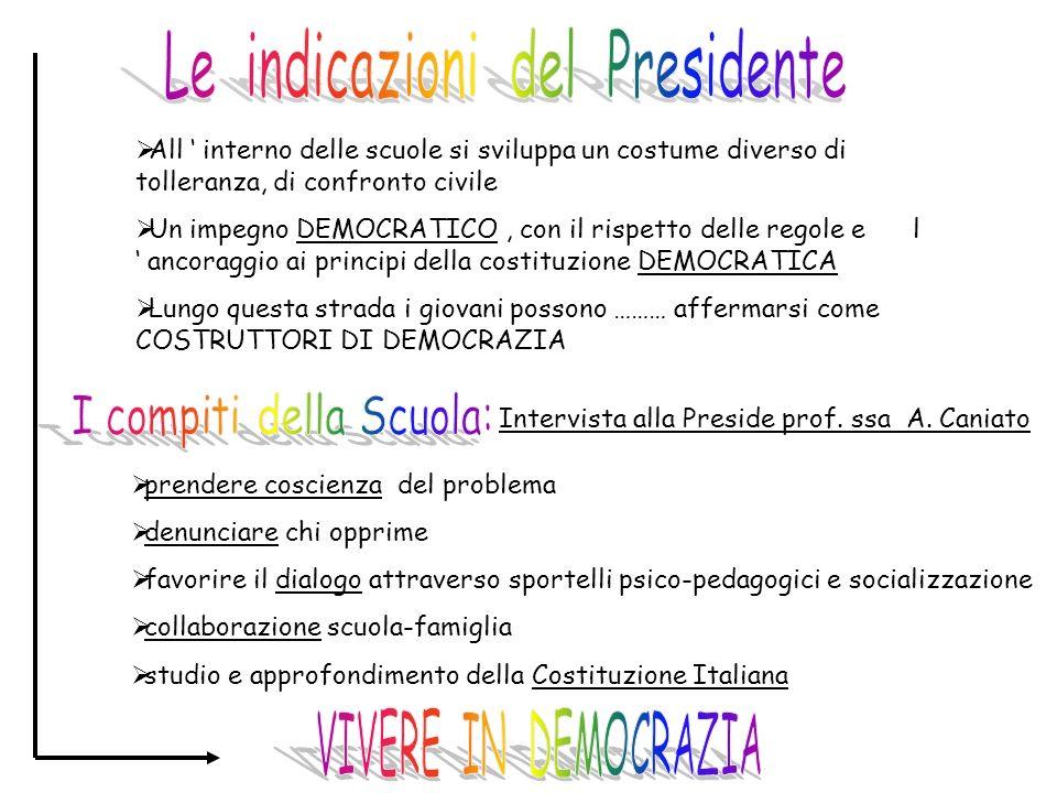 Le indicazioni del Presidente