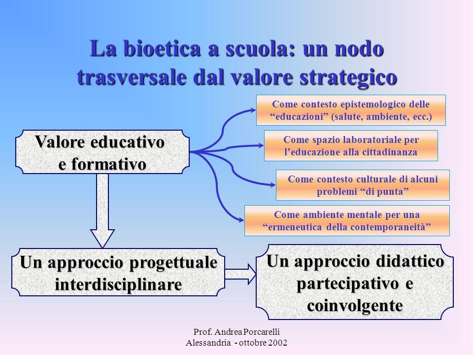 La bioetica a scuola: un nodo trasversale dal valore strategico