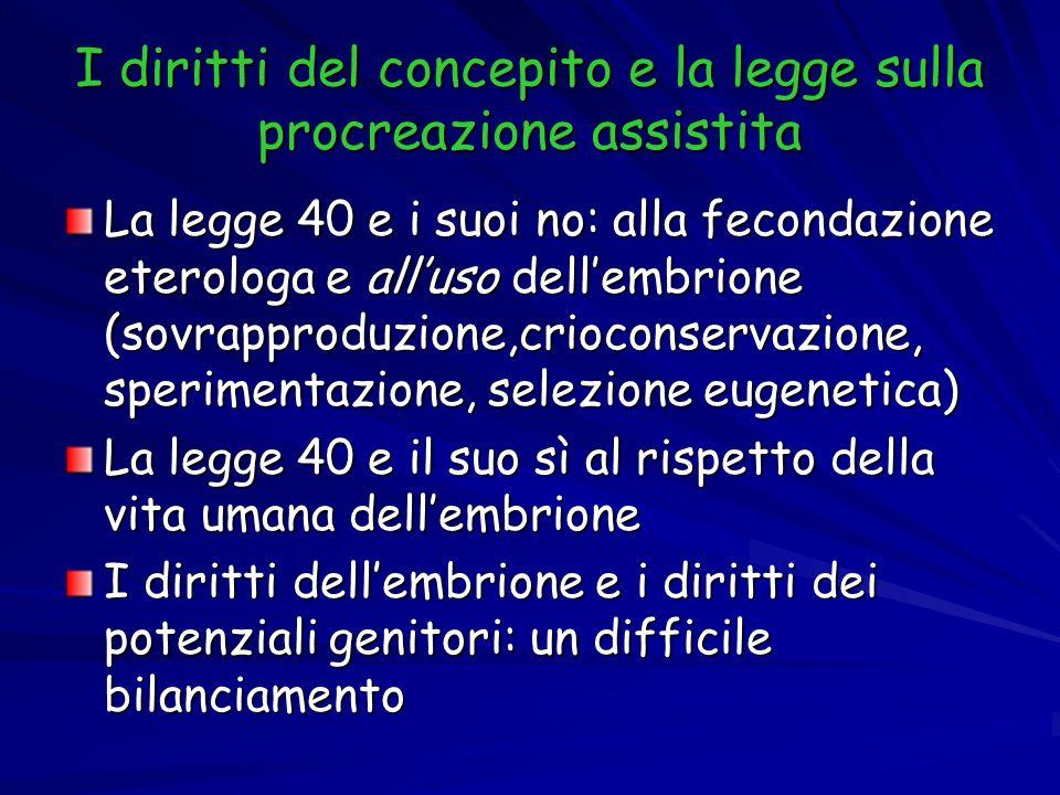 I diritti del concepito e la legge sulla procreazione assistita