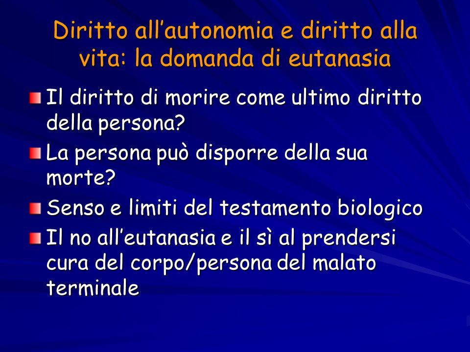 Diritto all'autonomia e diritto alla vita: la domanda di eutanasia