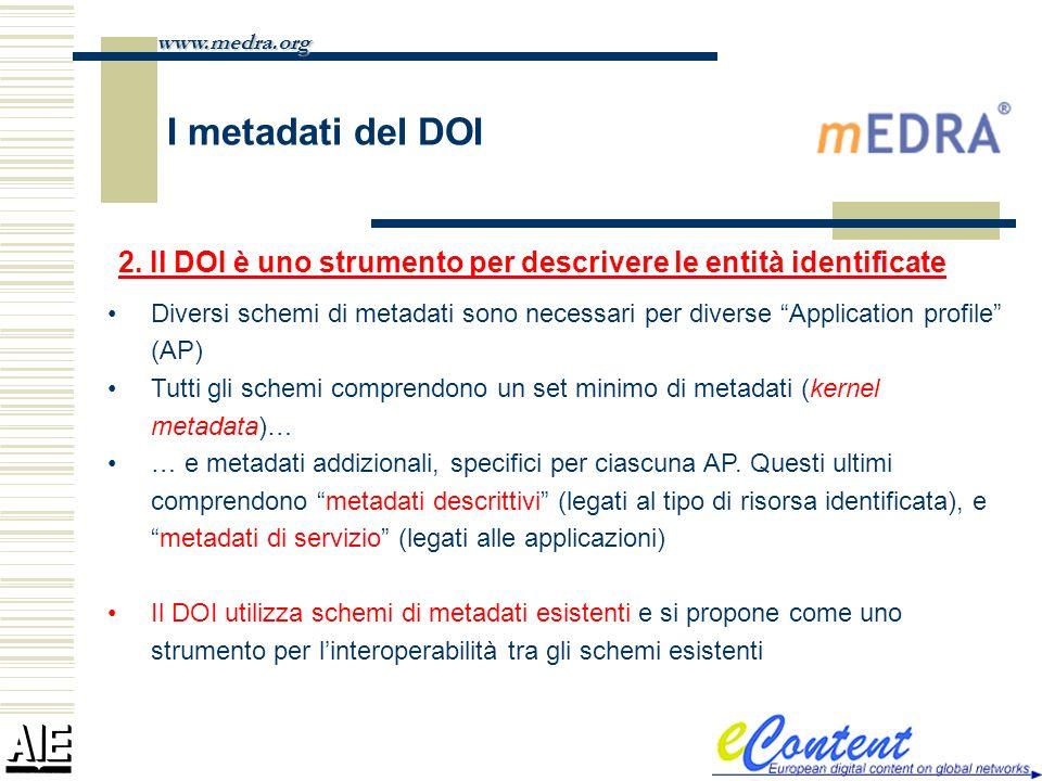 www.medra.orgI metadati del DOI. 2. Il DOI è uno strumento per descrivere le entità identificate.