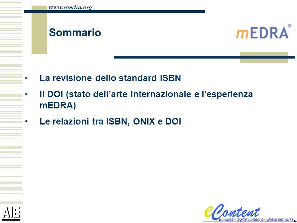 Sommario La revisione dello standard ISBN
