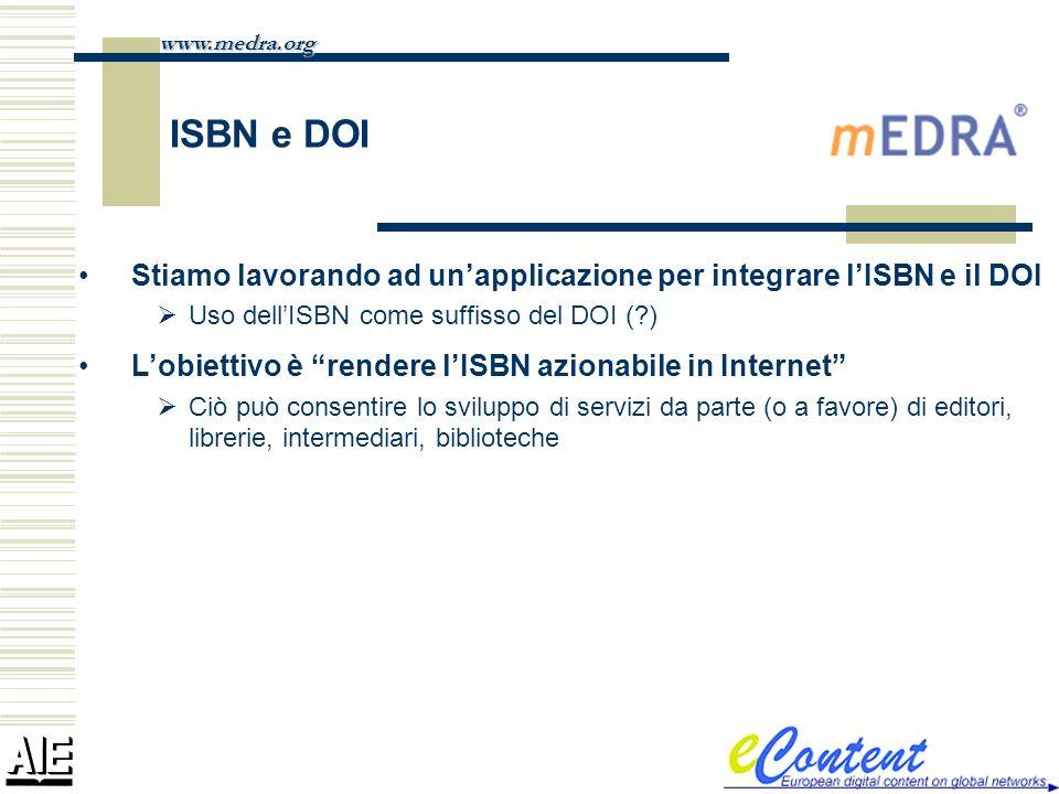 www.medra.org ISBN e DOI. Stiamo lavorando ad un'applicazione per integrare l'ISBN e il DOI. Uso dell'ISBN come suffisso del DOI ( )