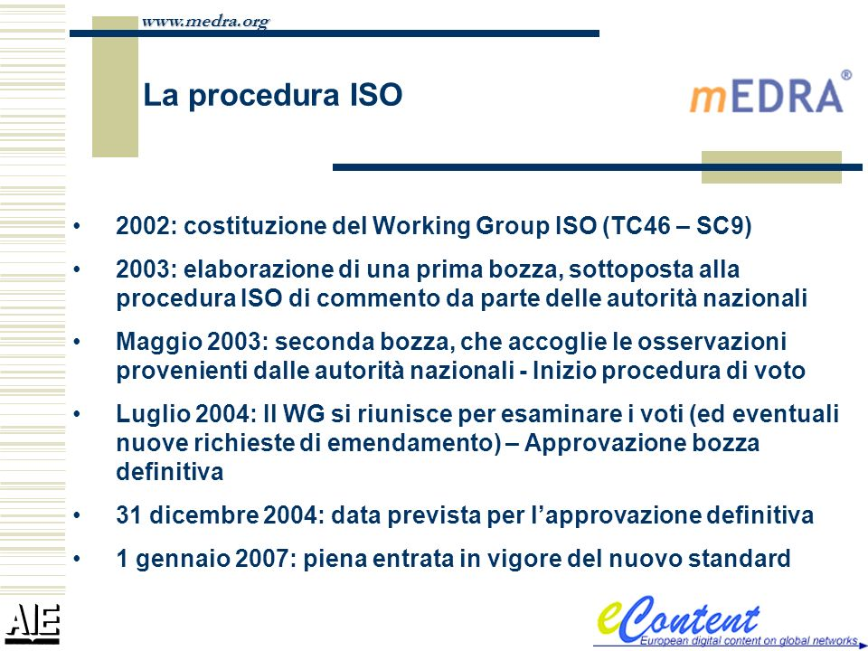 La procedura ISO 2002: costituzione del Working Group ISO (TC46 – SC9)