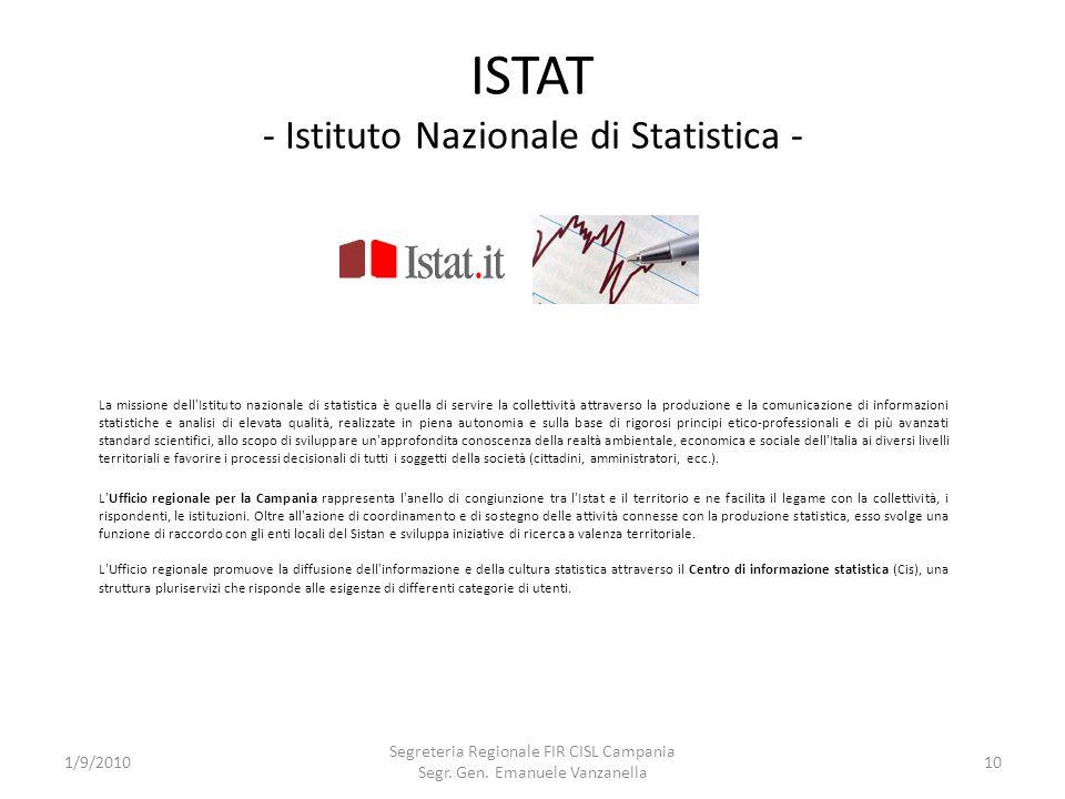 ISTAT - Istituto Nazionale di Statistica -