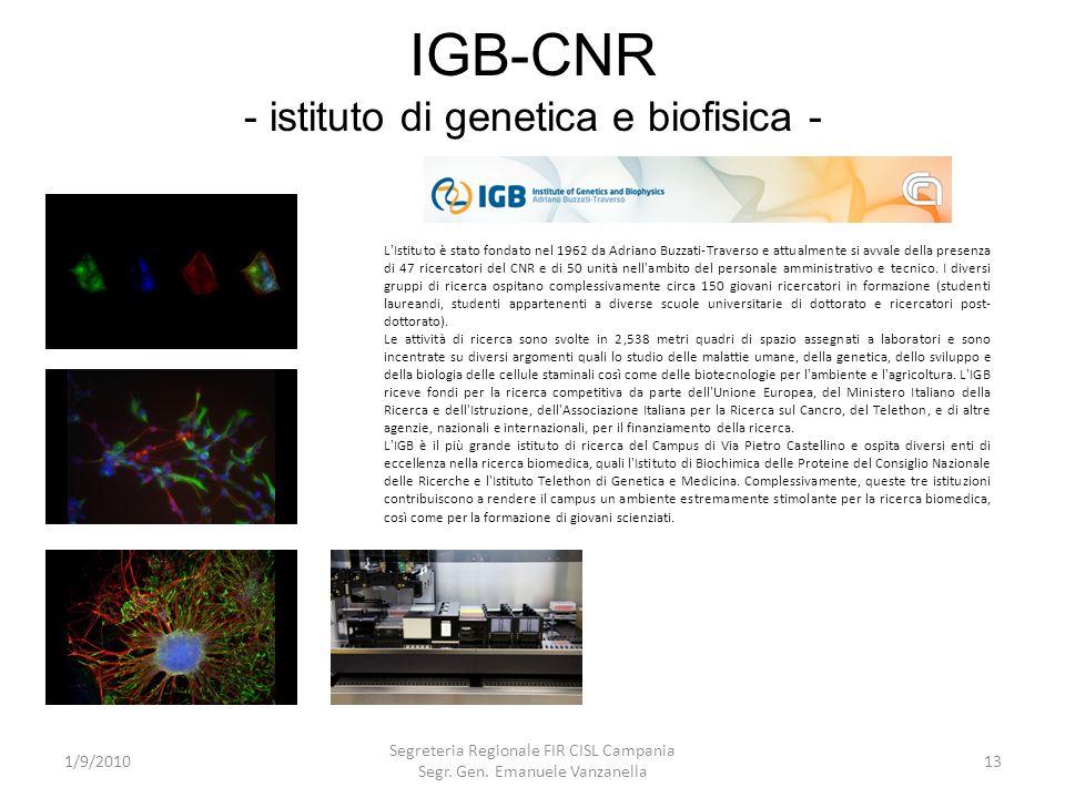 IGB-CNR - istituto di genetica e biofisica -