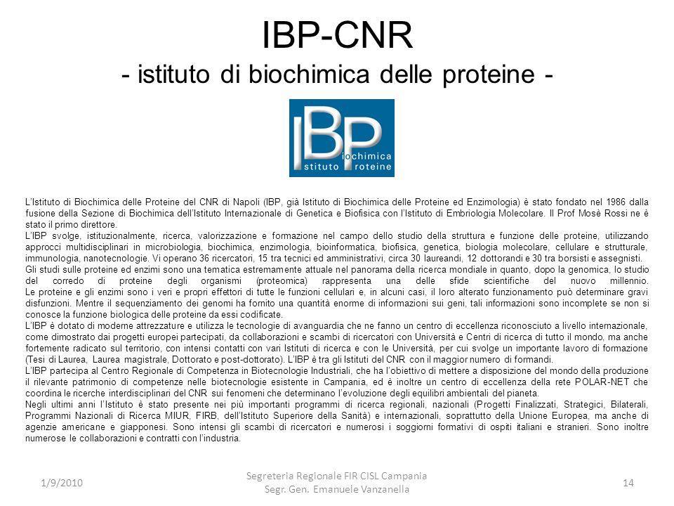 IBP-CNR - istituto di biochimica delle proteine -