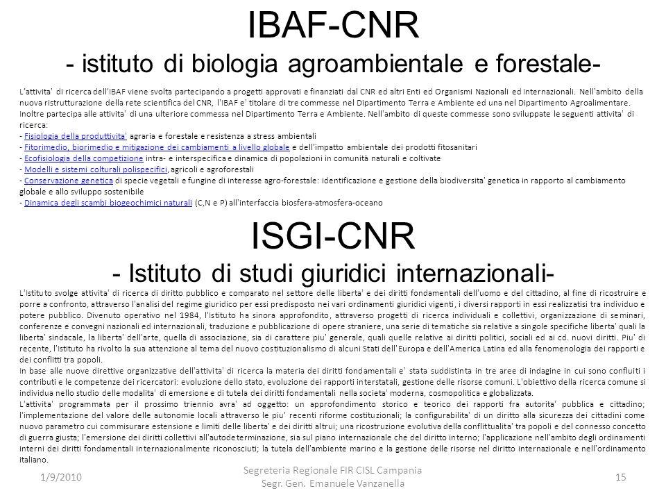 IBAF-CNR - istituto di biologia agroambientale e forestale-