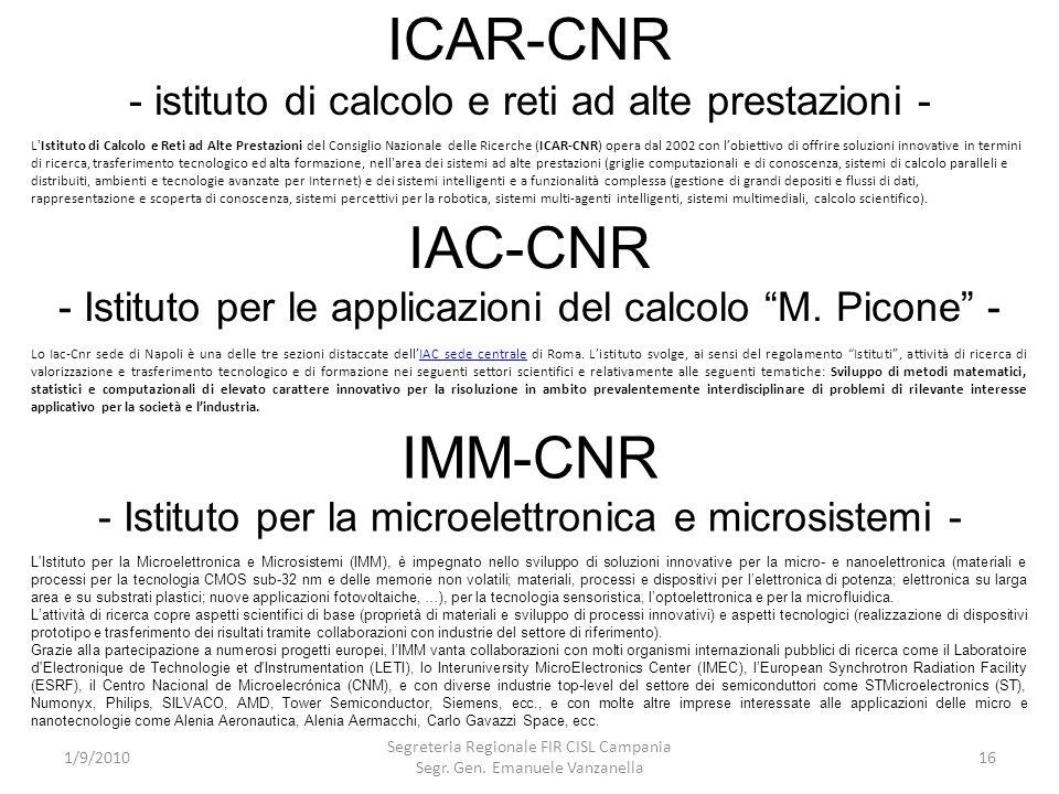 ICAR-CNR - istituto di calcolo e reti ad alte prestazioni -