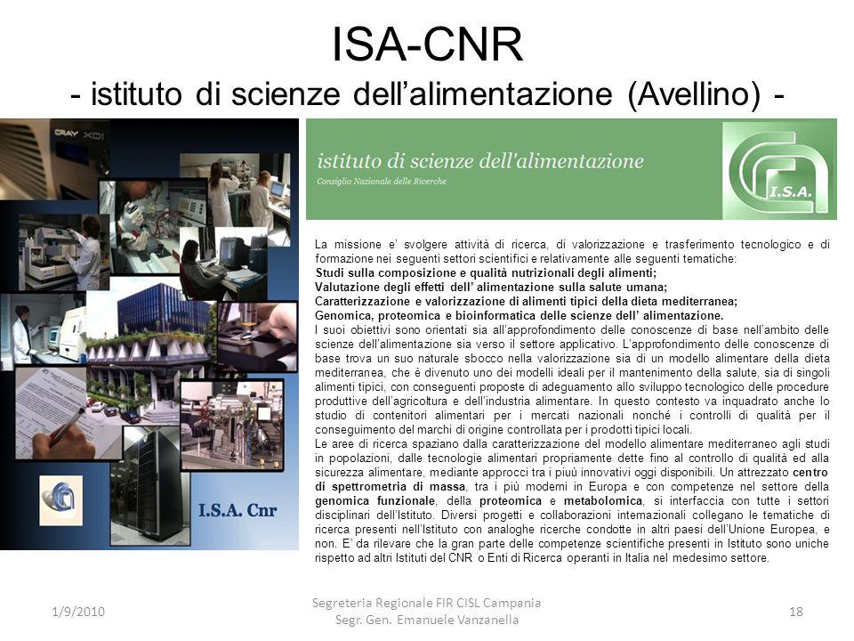 ISA-CNR - istituto di scienze dell'alimentazione (Avellino) -